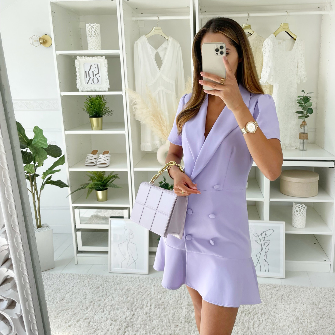 ROBE STYLE TAILLEUR LILAS